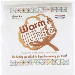 Warm & White Cotton Batting (90'' x 108'') Queen Size