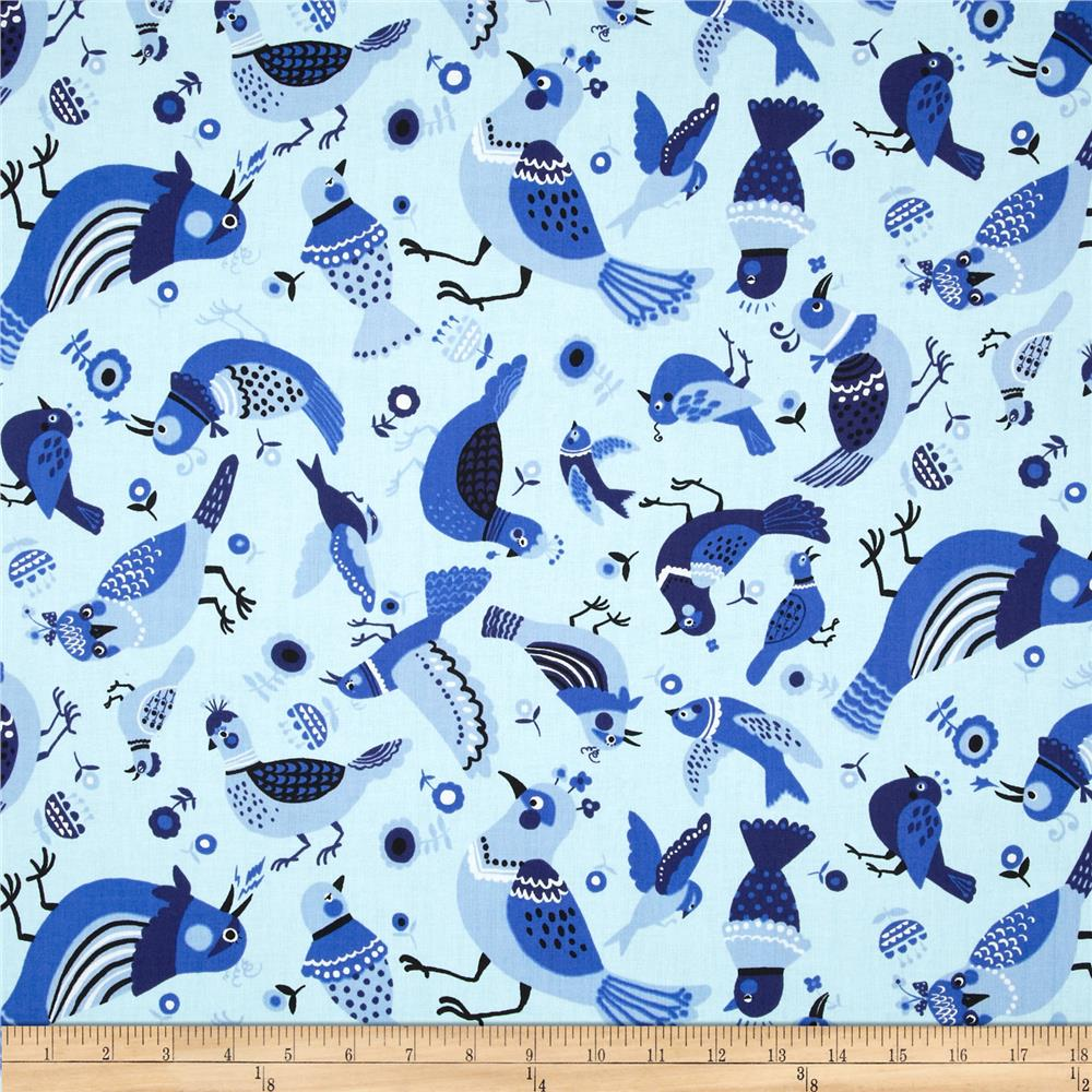 Kokka Tossed Birds White/Blue