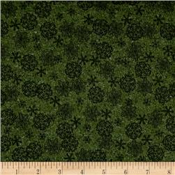 Woodland Retreat Flannel Snowflake Green