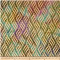 Indian Batik Montego Bay Metallic Wheat Grains Teal/Purple