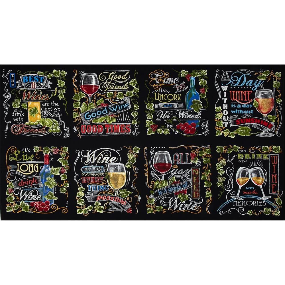 Kaufman Vineyard Wine Blocks Panel Multi Fabric By The Yard