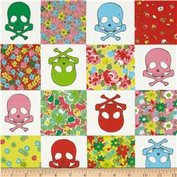 Kokka Skulls and Flowers White/Yellow