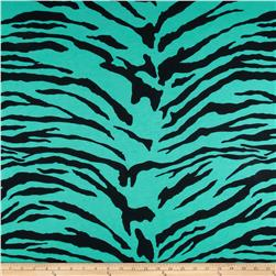 Cotton Poly Jersey Knit Zebra Teal/Black