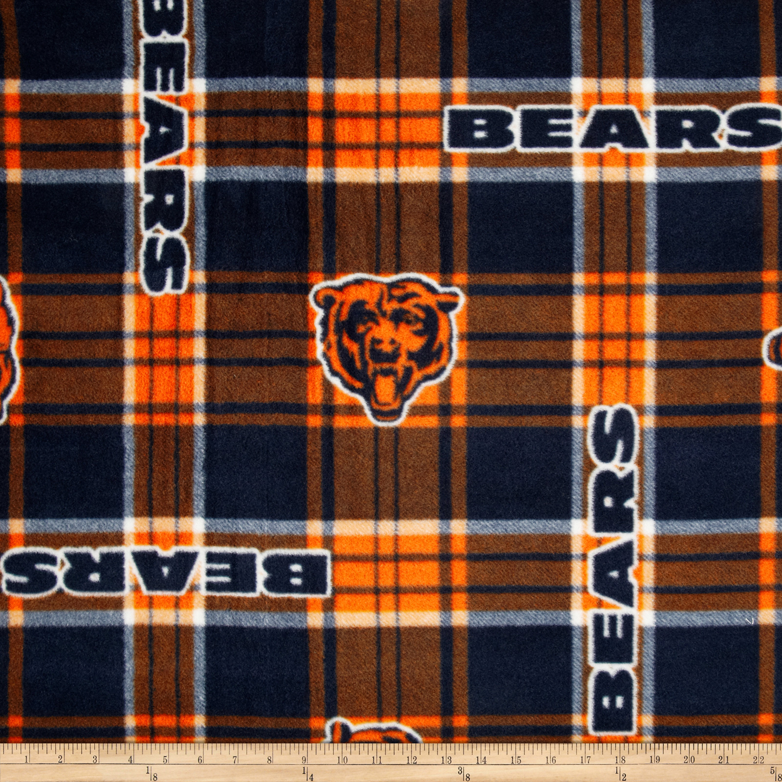 NFL Fleece Chicago Bears Plaid Blue/Orange Fabric