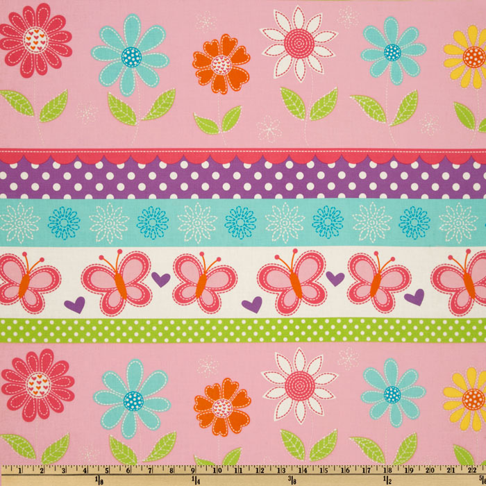 Michael Miller Butterfly Kisses Stripe Pink Fabric