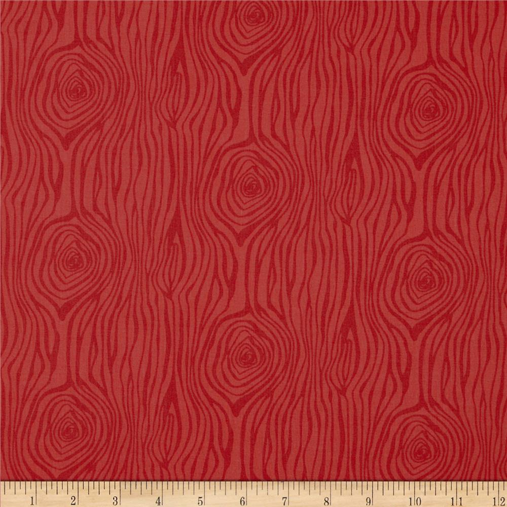 Moda Into the Woods Woodcut Cranberry