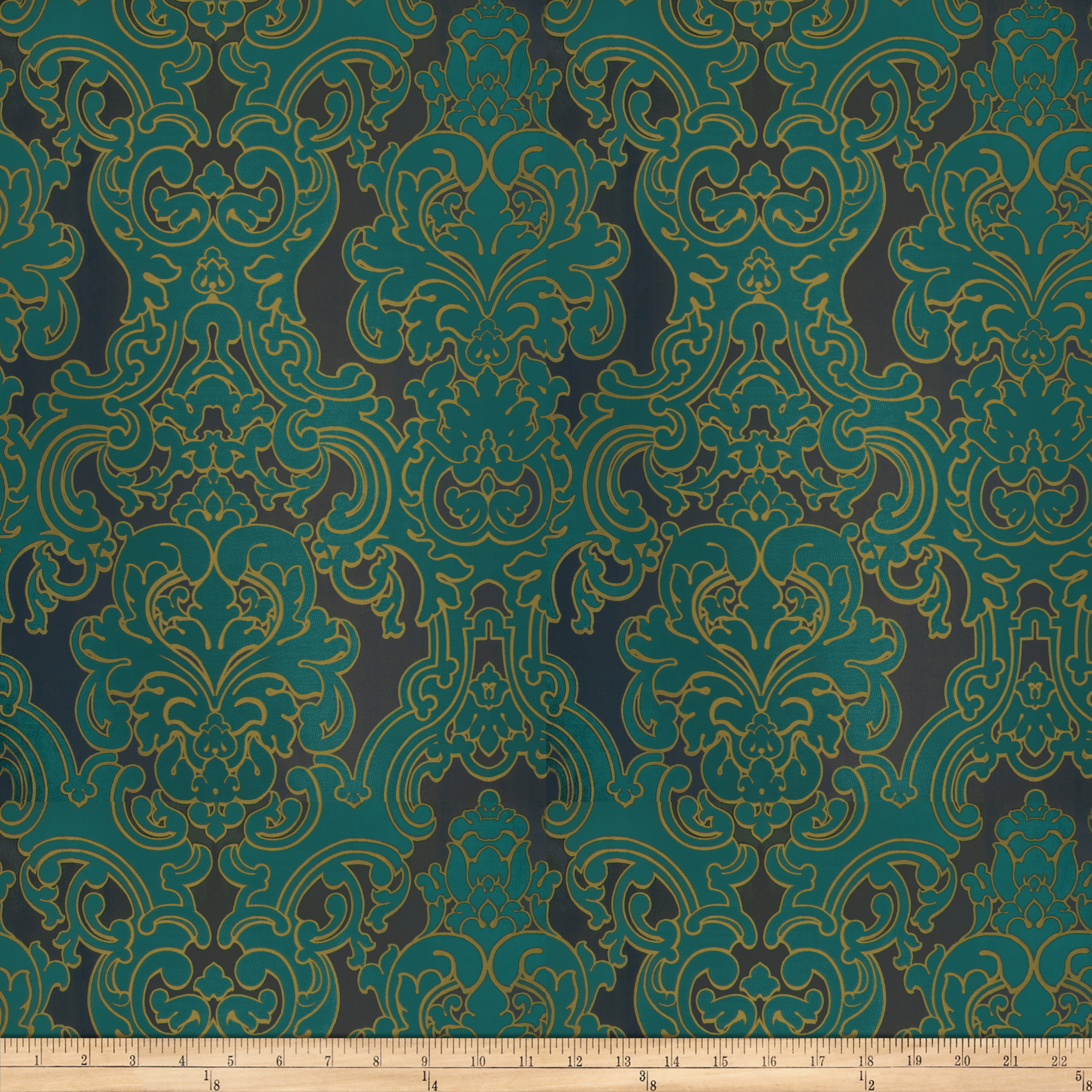 Image of Fabricut Del Toro Grand Satin Jacquard Peacock