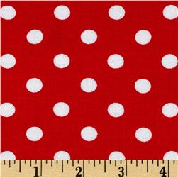 Rayon Challis Small Dots Red White