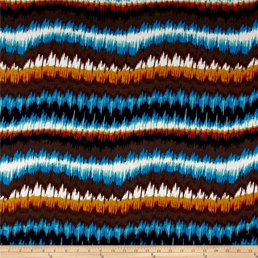 French Designer Rayon Challis Abstract Zig Zag Brown/Yellow/Blue