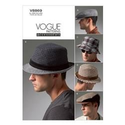 Vogue Men's Hats Pattern V8869 Size OSZ