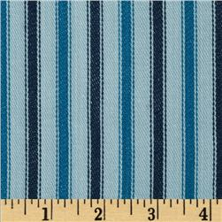 Textile Creations 54'' Yarn Dyed Ticking Stripe Twill Indigo