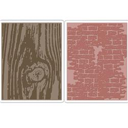 Sizzix Texture Fades Embossing Folders Bricked & Woodgrain Set