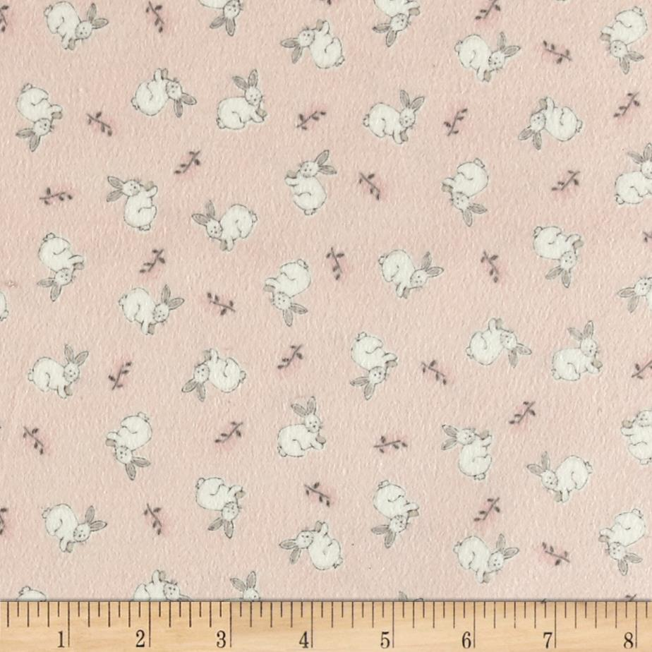 Timeless Treasures Flannel Doe, A Deer Tossed Bunnies Pink