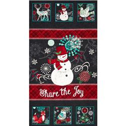 Chalkboard Snowman Panel Black Fabric