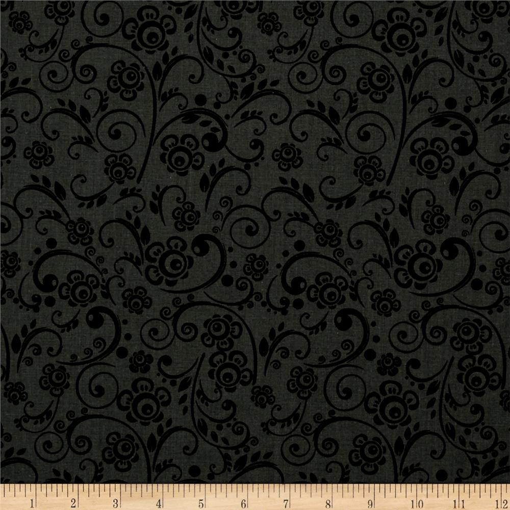 "108"" Wide Quilt Back Floral Swirl Grey"