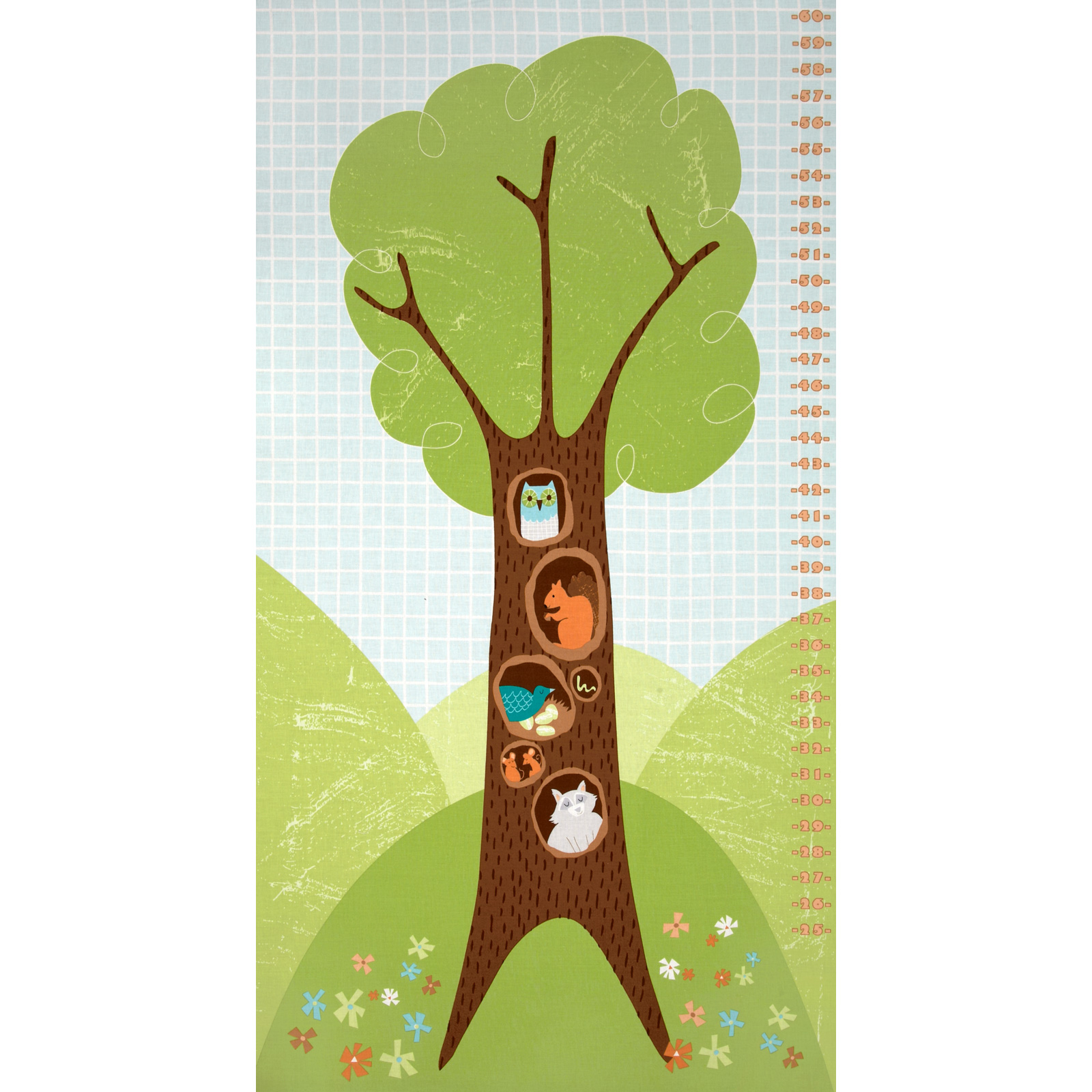 Wonderful Woodlands Growth Chart Green Fabric