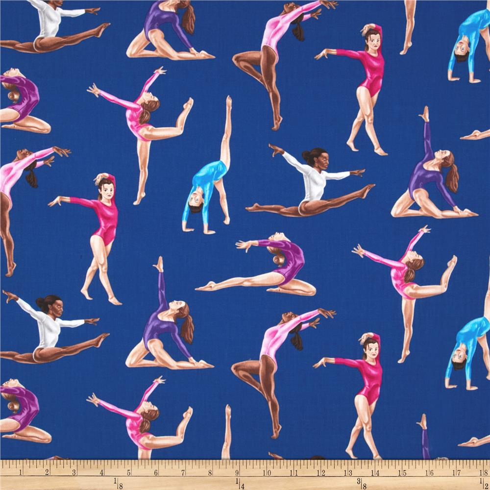 Timeless Treasures Gymnastics Royal Blue