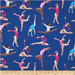 Timeless Treasures Gymnastics Royal Blue Fabric