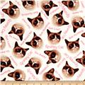 Marcus Grumpy Cat Flannel Word Toss White