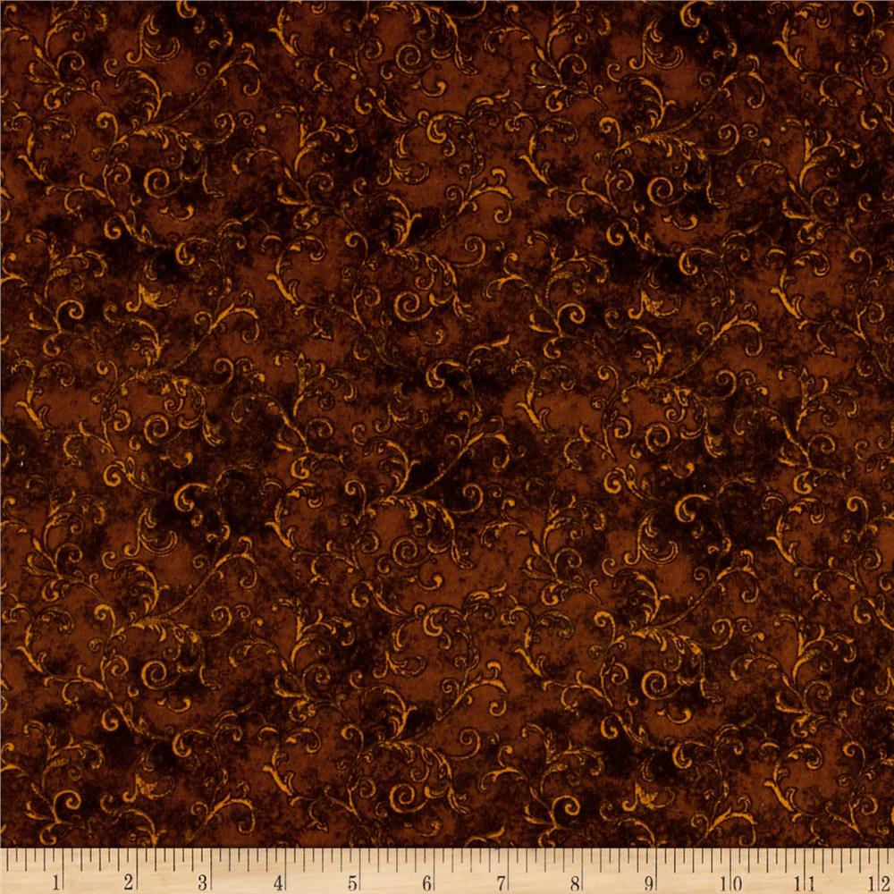 Essentials 108'' Wide Back Flannel Filigree Brown Fabric