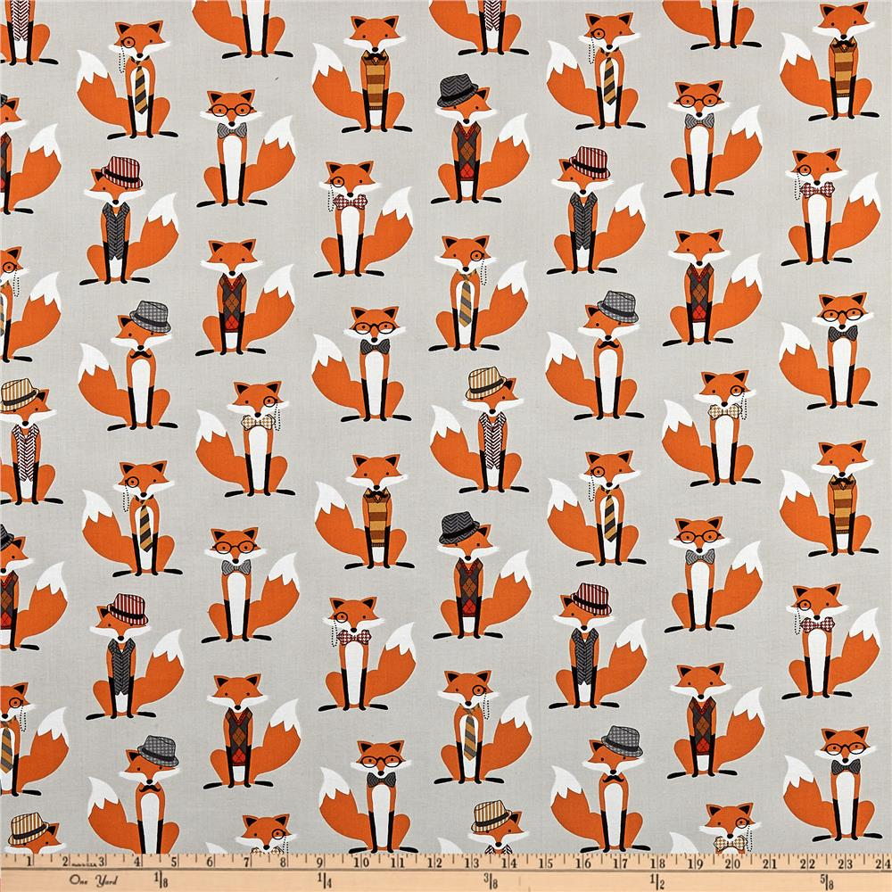 Fox and the houndstooth foxes grey discount designer for Grey baby fabric