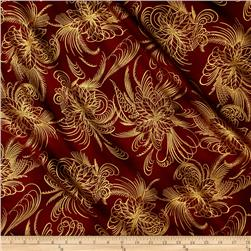 Berries and Blooms Metallic Poinsettia Outline Burgundy/Gold