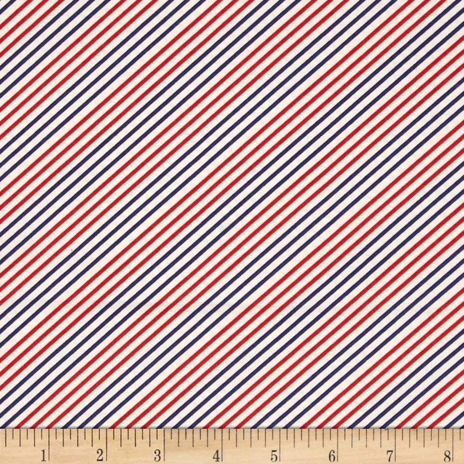 Moda Fresh Air Dotted Bias Stripe Red-Navy