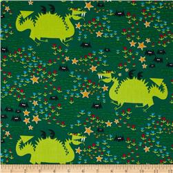 Cloud 9 Organic Happy Drawing Dragons Green Fabric