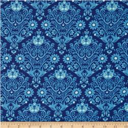 Moda On the Wing Daisy Damask Bluebird