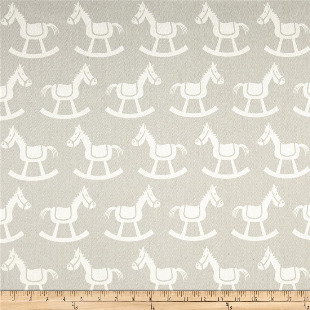 Premier Prints Rocking Horse Twill French Grey/White