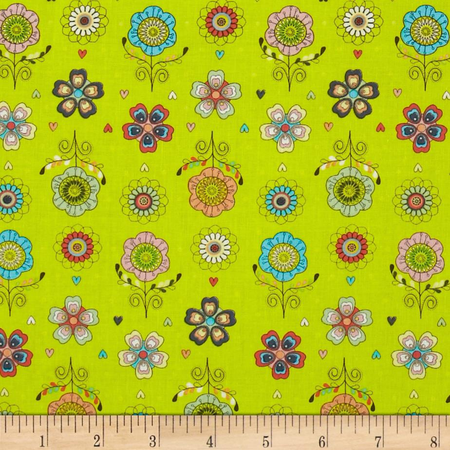 Petite Plume Floral Chartreuse
