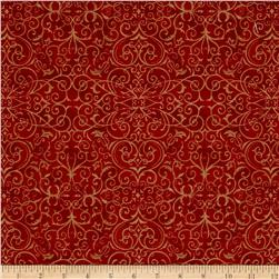 Moda Rejoice In The Season Scroll Berry Red
