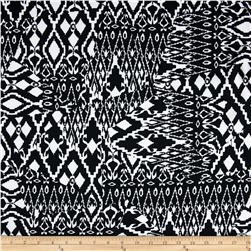 Stretch Prada Twill Ethnic Quilt Black/White Fabric