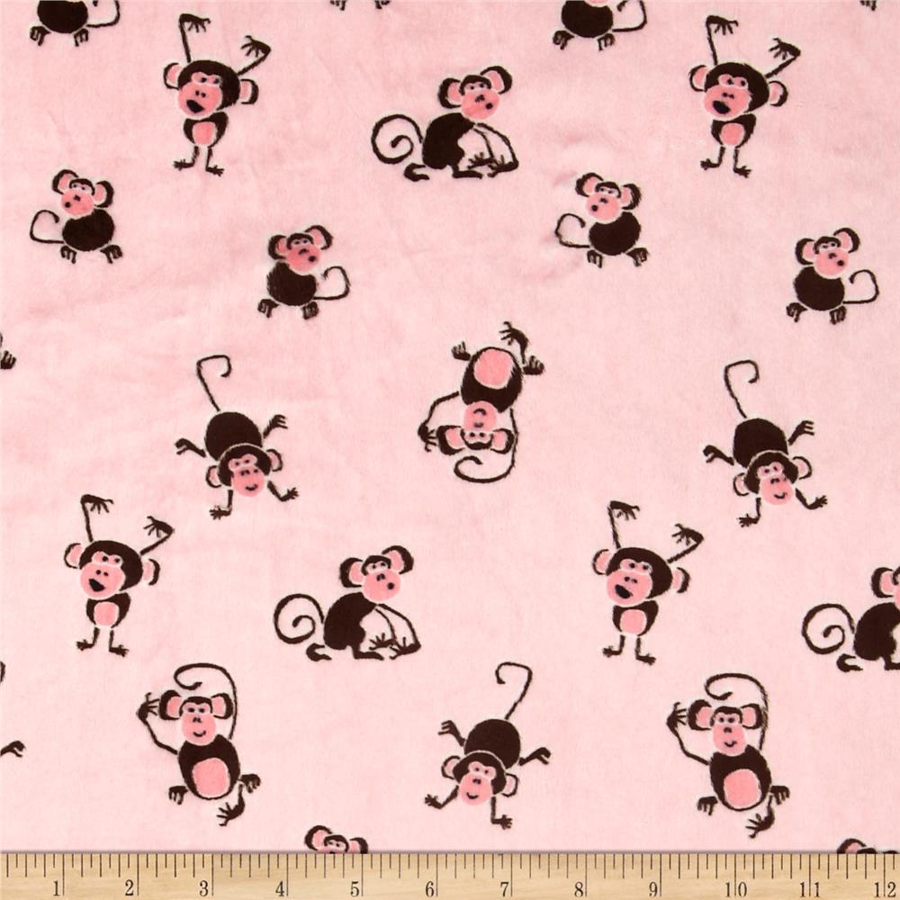 Minky Playing Monkeys Light Pink/Brown