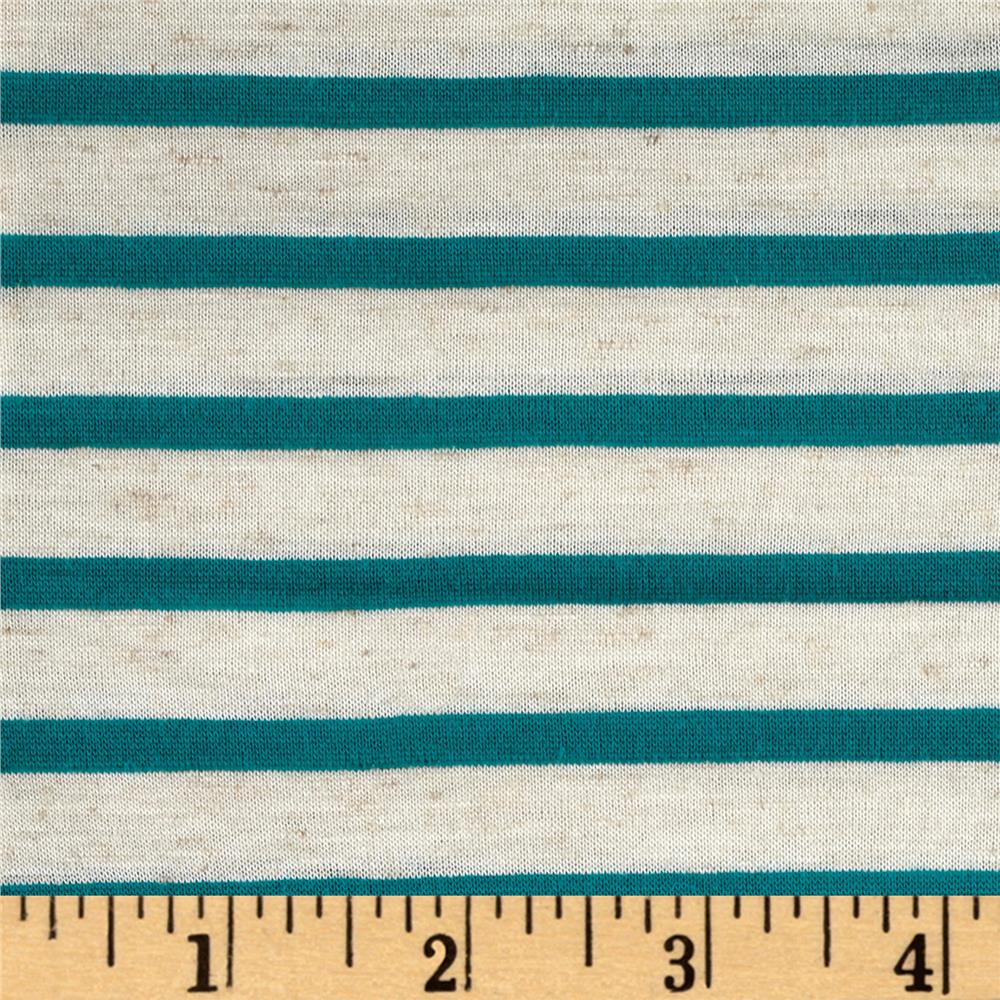 Jersey Knit Stripped Turquoise Tan