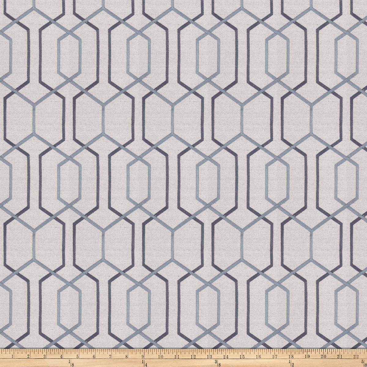 Image of Fabricut Crosswise Embroidered Steel Blue
