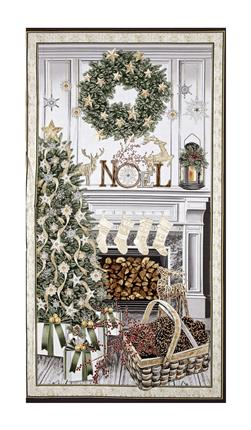 "Timeless Treasures White Christmas Metallic Christmas Mantel 23"" Panel Cream"