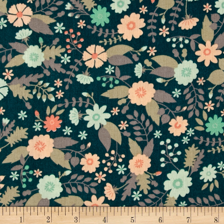 Ciana Bodini Double Gauze Floral Dark Teal Fabric by Eugene in USA