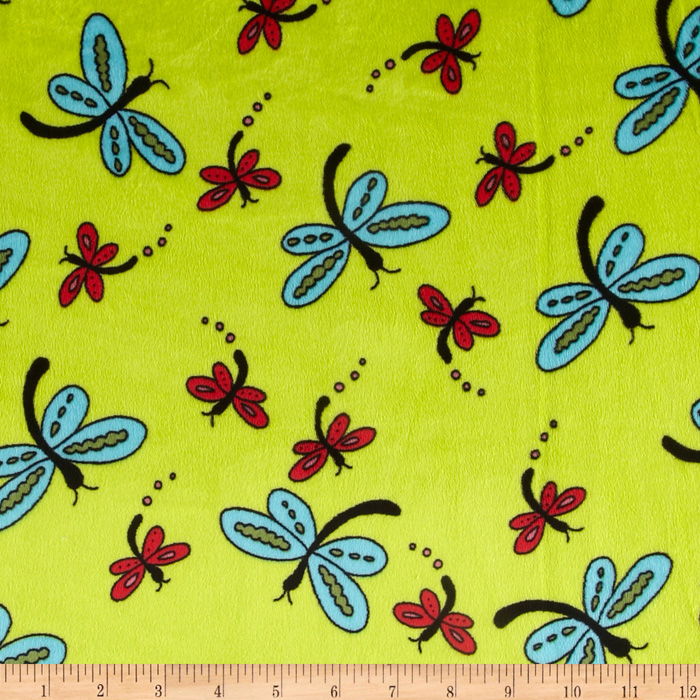 Lagoona Minky Cuddle Dragonfly Apple Fabric