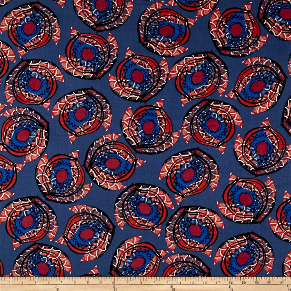 French Designer Rayon Challis Collage Geo Fish Eye  Orange/Blue