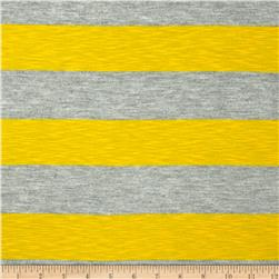 Yarn Dyed Jersey Knit Stripe Slub Yellow/Grey