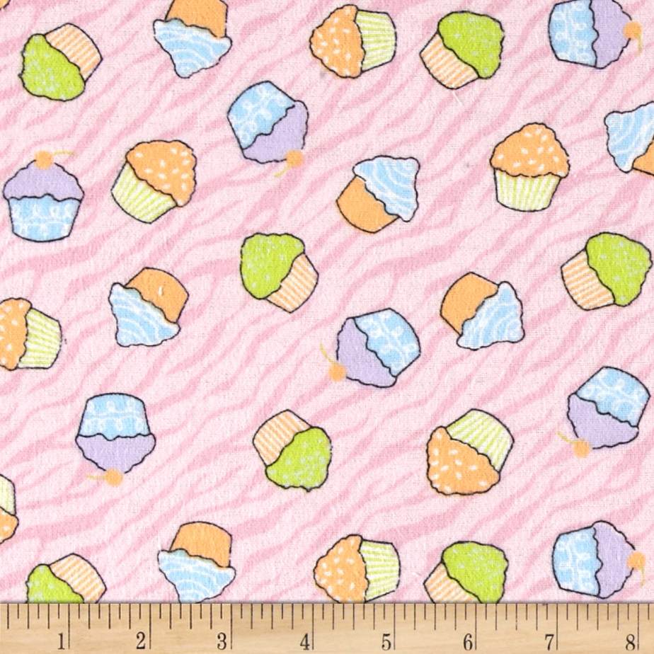 Flannel Prints Zebra Cupcake Pink Fabric