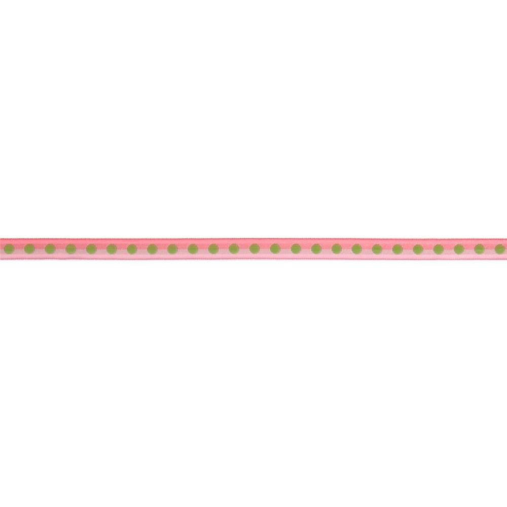 "3/8"" Grosgrain Dot to Dot Ribbon Pink"