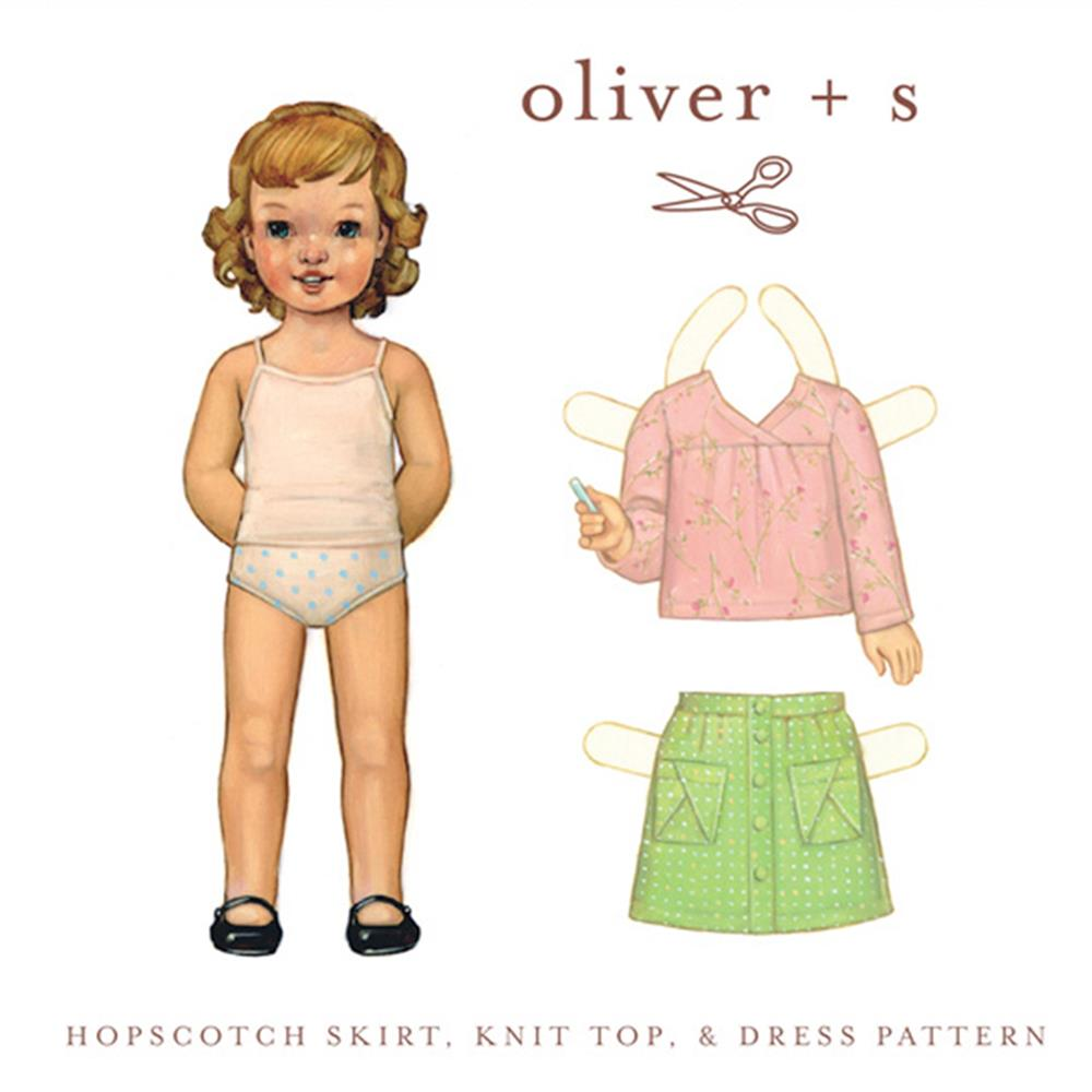 Oliver + S Hopscotch Skirt, Knit Top + Dress Pattern Sizes 6 Months - 4
