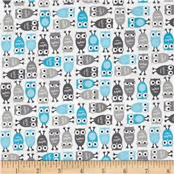 Robert Kaufman Urban Zoology Mini Owls Sky
