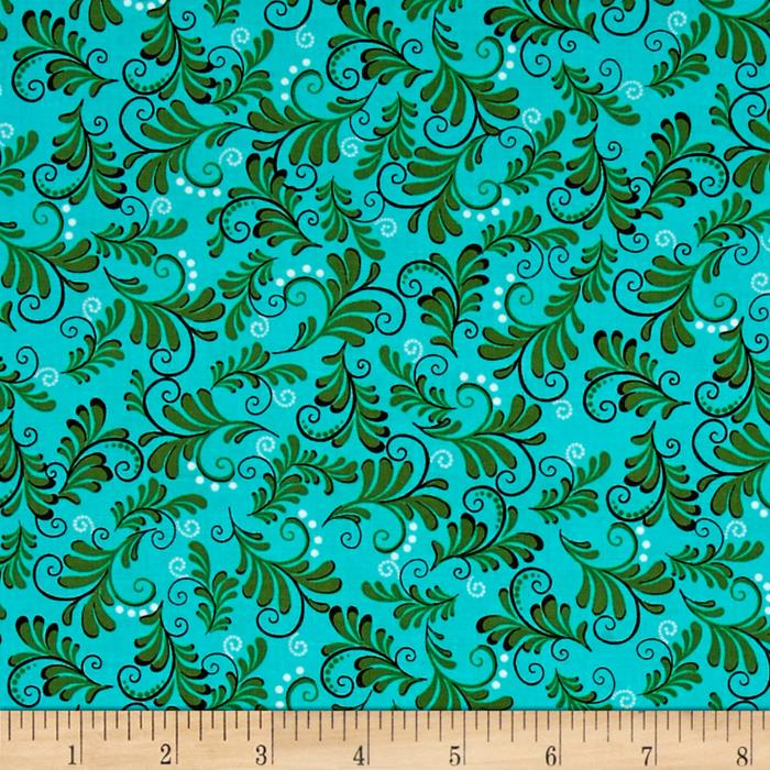 Vibrant Meadow Fern Turquoise