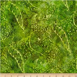 Moda Island Sun Batik Paisley Green/Yellow Jungle