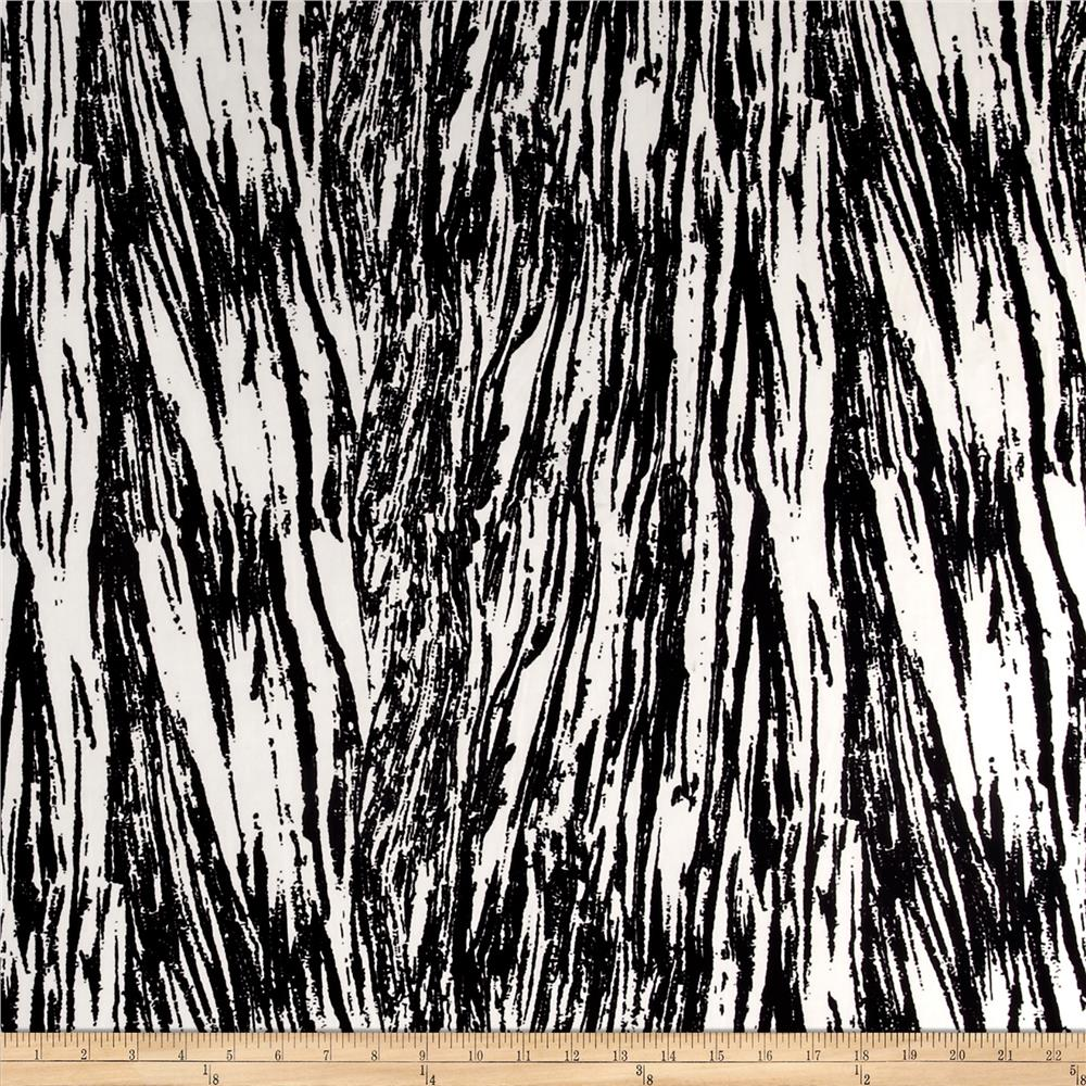 Stretch ITY Jersey Knit Scratch Lines Black/White Fabric By The Yard