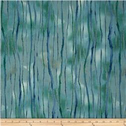 Robert Kaufman Sound of the Woods Metallic Stripe Mist