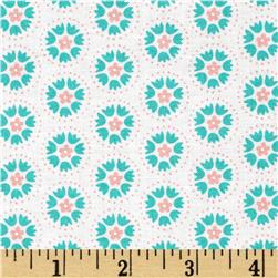 Moda Lil' Red Spinning Tulips Turquoise/ Cloud